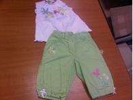 Tulec Trend set zelené kalhoty + bílé tričko, 6-18 měs.