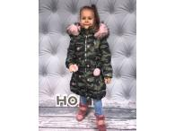 Zimní kabátek Army pink,  6-16 let