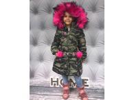 Zimní kabátek Army raspberry, 6-16 let