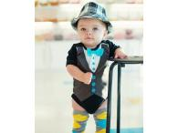 RuggedButts Black Tuxedo One-Piece, 12-24m