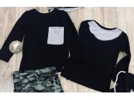 Triko s kapsou černé, 92-140