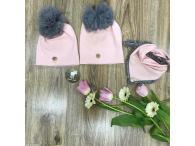 Set čepice+šátek růžový s bambulkami