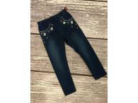 Vyteplené legíny jeans s květinami